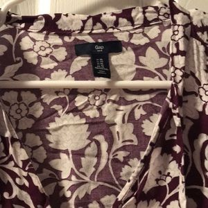 GAP Tops - Floral shirt with tie around neck
